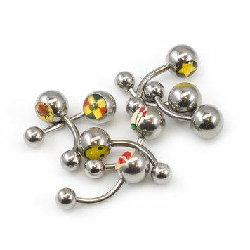 Package of 8 Belly Button Rings with Assorted Icon Designs 14G