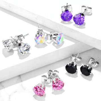 Pair of 316L Surgical Stainless Steel Stud Earring with Round Cubic Zirconia 20ga