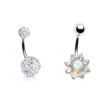 Pair of Belly Rings 14G Paved Design Ferido Ball and Heart Surgical Steel CZ Gems