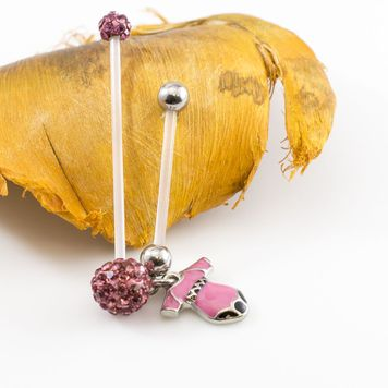Pair of Bioflex Shaft Maternity Belly Rings Dangling Charm and Ferido Ball