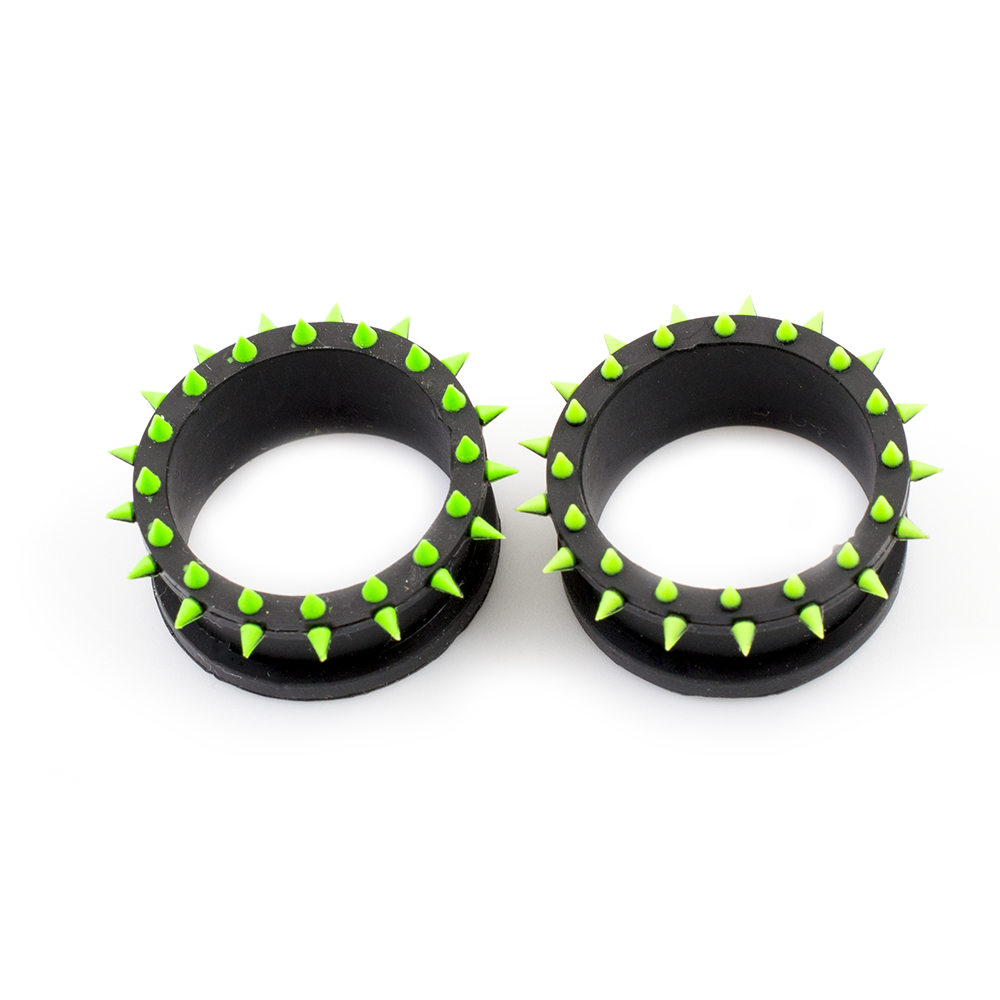Pair of Black & Green Double Flared Silicone Tunnels / Plugs with Spike Design – Sold Each