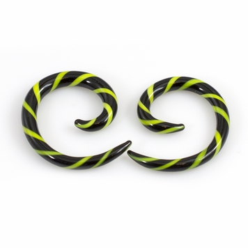 Pair of Black & Green Stripe Spiral Glass Tapers