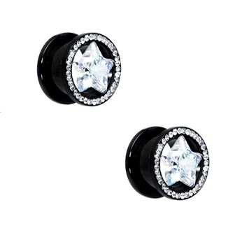 Pair of Black Screw-Fit Ear Plugs with Clear CZ Star Design