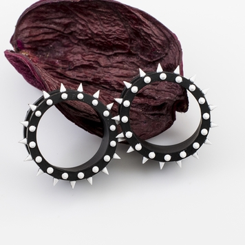 Pair of  Black & White Double Flared Silicone Tunnels / Plugs with Spike Design - Sold Each