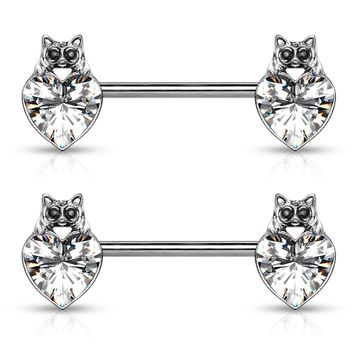Pair of Cat with Black Crystal Eyes over Heart Crystal Design Nipple Barbells Surgical Steel 14ga