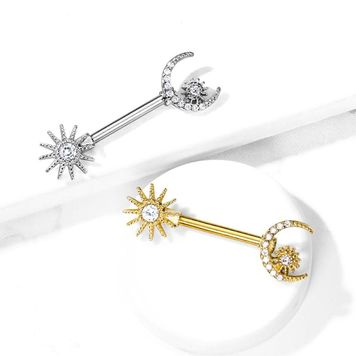 Pair of  CZ Sun and CZ Paved Crescent Moon Star Nipple Barbells Surgical Steel 14ga