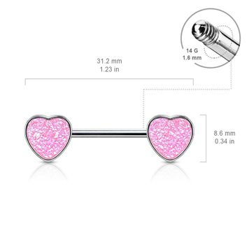 Pair of Druzy Stone Heart Set Surgical Steel Nipple Barbells 14ga