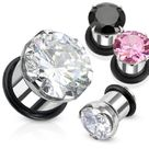 Plugs O Ring Style with Prong Cubic Zirconia Surgical Steel- Sold as a Pair