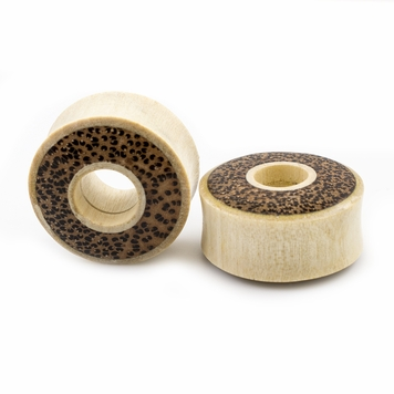 Pair of Ear Tunnels made of Crocodile Wood with Leopard Print Double Flared