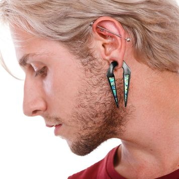 Pair of Ear Weight Hangers Abalone Shell Inlaid Keyhole Tunnels Plugs Gauges black anodized