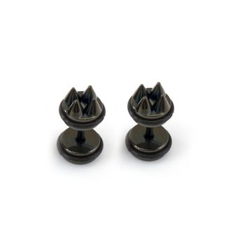 Pair of Faux Cheater Illusion Ear Plugs with Metallic Spike Design 16ga
