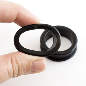 Pair of  Flexible Black Large Gauge Double Flare Tunnels