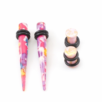 Pair of Flower Design Tapers & Plugs (6ga- 5/8 ) w/ O- Rings