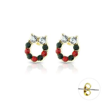 Pair of  Gold IP Plated Gem Paved Christmas Wreath Stud Earrings Surgical Steel 20ga