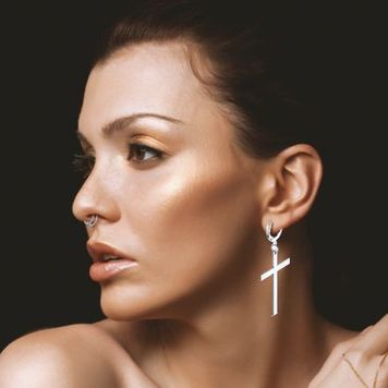 Pair of Hoop Earrings with Dangle  Cross Stainless Steel 20ga