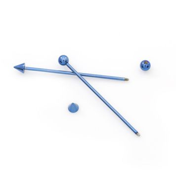 Pair of Industrial Barbells- Spike and Ball End Design 16ga  Blue Anodized Titanium