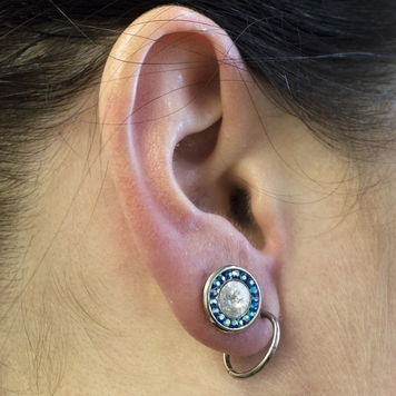 Pair of  Large Clear CZ and Blue Cubic Zirconia Plugs w/ O rings