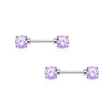 Pair of Nipple Barbells 14G Surgical Steel with Round Prong Set CZ Gems