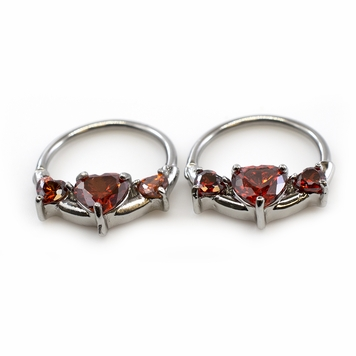 Pair of  Nipple Clicker with Prong Setting Cubic Zirconia Heart Shape 14G