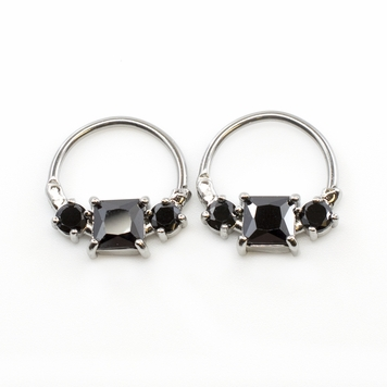 Pair of  Nipple Clicker with Prong Setting Cubic Zirconia Square Shape 14G