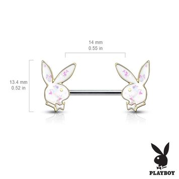 Pair of Opal Glitter Filled Playboy Bunny Ends Barbell Nipple Rings Surgical Steel 14ga