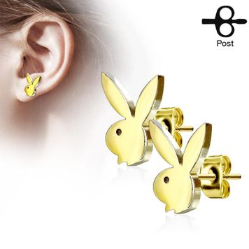 Pair of Playboy Bunny  Stainless Surgical Steel Earring Studs 20ga
