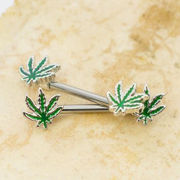 Pair of  Pot Leaf Design Forward Facing Nipple Barbells 14ga Surgical Steel