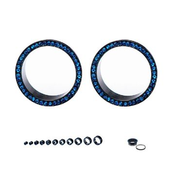 Pair of Screw Fit  Black IP Surgical Steel Flare Tunnels with Press Fit Blue Cubic Zirconias 6ga-7/8