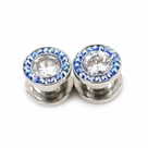 Pair of Screw-Fit Large Clear CZ and Blue Cubic Zirconia Plugs