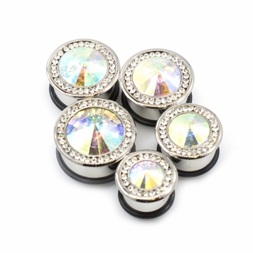 Pair of  Single Flared Large AB CZ and Clear Cubic Zirconia Plugs w/ O-rings