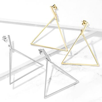 Pair of Stainless Steel Earrings with Bar and Large Triangle Dangle Design 20ga