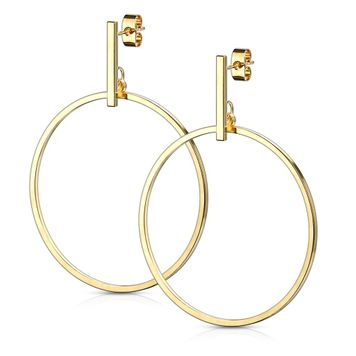 Pair of Stainless Steel Earrings with Bar and Round Hoop Dangle Design 20ga