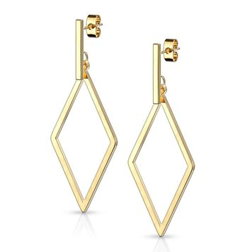 Pair of Stainless Steel Earrings with Square Bar and Diamond Shape Dangle 20g