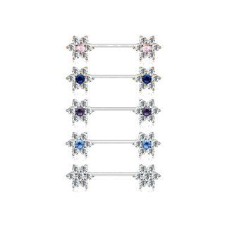 Pair of Straight Barbell Nipple Rings 14G with CZ Flower Gems