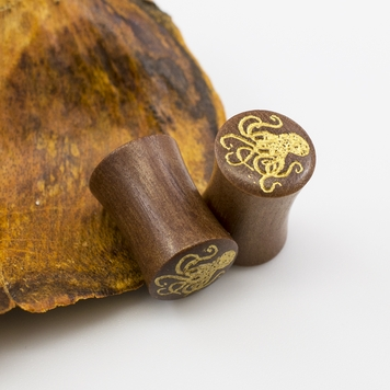 Pair of  Wood Ear Plugs with Octopus Design