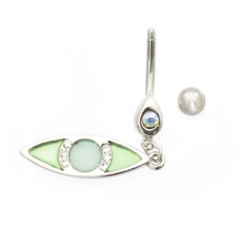 Luxe Modz Pastel Blue Eye Dangle Design Belly Button Ring 14ga Surgical Steel