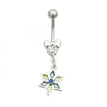 Luxe Modz Flower Jewel Design Dangle Belly Button Ring 14ga Surgical Steel