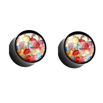 """Pair of  Colorful Crystals Filled Clear Face Black Acrylic Saddle Plugs 2ga-5/8"""""""