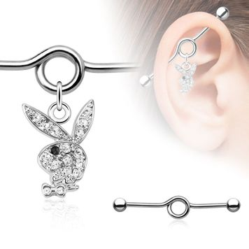 Playboy Bunny Multi Paved Gem with Black CZ Eye Dangle Industrial Barbell 14ga