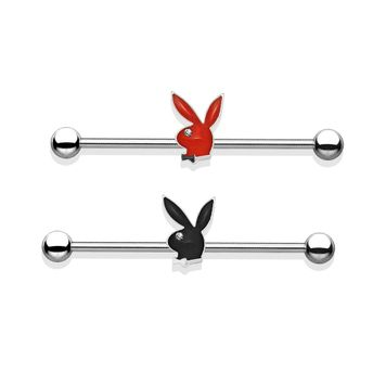 Playboy Bunny Epoxy and Clear Gem Eye Designed Industrial Barbell 14ga