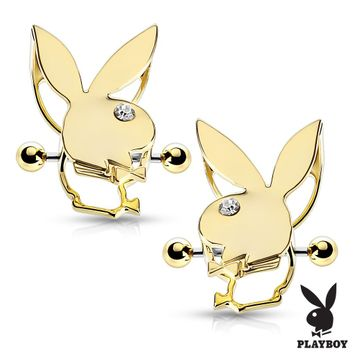 Pair of  Playboy Bunny Double Tier Nipple Shields 14ga