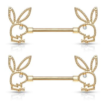 Pair of Playboy Bunny with Crystal Eye and Beaded Edges Surgical Steel Nipple Barbell Rings 14ga 9/16