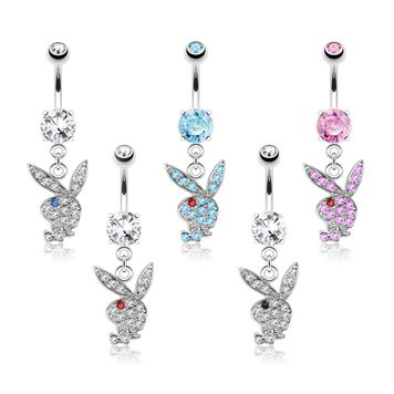 Playboy Bunny with Multi Paved Gems Dangle Belly Button Ring 14ga 316L