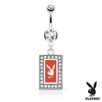 Playboy Bunny Square Frame with Paved Gems Dangle Belly Button Ring 14ga 316L