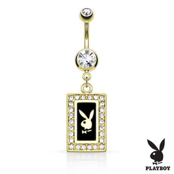 Gold IP Playboy Bunny Square Frame with Paved Gems Dangle Belly Button Ring 14ga 316L