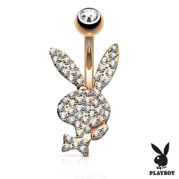 Crystal Paved Playboy Bunny Belly Button Ring 14ga 316L