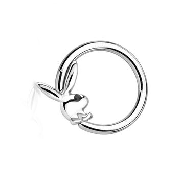 Playboy Bunny Captive Hoop Ring with Black Gem Eye 16ga or 14ga  1/2 ' - 12 mm 316L - Sold Each