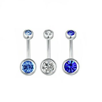 Double Jewel Belly Button Rings Stainless Steel Surgical Steel 16ga - 3 pack - Clear ,Light Blue, and Blue