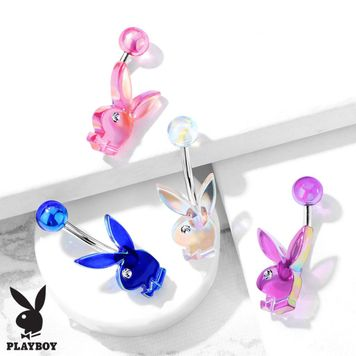 Belly Button Navel Rings AB Effect Acrylic Playboy Bunny with Clear Gem Eye 316L Surgical Steel