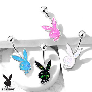 Belly Button Navel Rings Opal Glitter Playboy Bunny in Casing 316L Surgical Steel